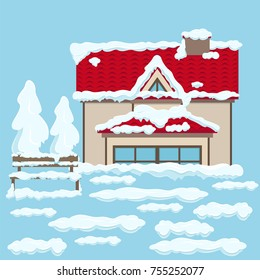 House with two floors, red roof, beige wall, french and triangular windows and wooden brown bench near under white snow on light blue background. Vector illustration of snowy winter weather.