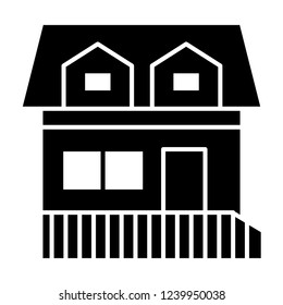House with two mansard windows solid icon. Cottage with attic vector illustration isolated on white. Home glyph style design, designed for web and app. Eps 10