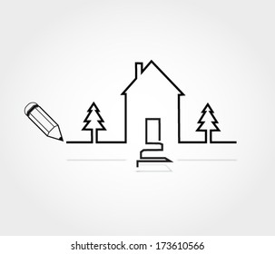 House with two pine trees outline