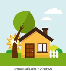 House under fallen tree. Vector illustration.