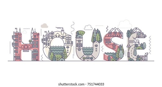 House. Urban alphabet of the urban landscape using elements of architecture and plants.