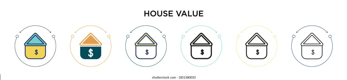 House value icon in filled, thin line, outline and stroke style. Vector illustration of two colored and black house value vector icons designs can be used for mobile, ui, web