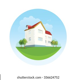 House vector facade illustration in flat style. Traditional cottage emblem for website design. Real estate for rent for sale template. Landscape with trees, clouds, sky, mountains grass field yard.
