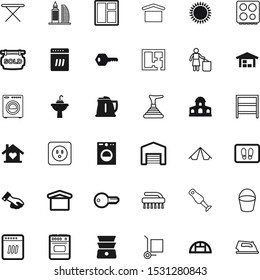 house vector icon set such as: recycling, summer, urban, sweet, fuel, shipping, volt, dust, greeting, brush, blender, boiler, shelves, residence, car, tourist, windows, industry, service, supply