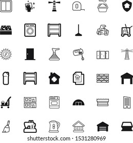 house vector icon set such as: unit, sun, delivery, skyline, plunger, skyscrapers, needle, quality, education, cell, government, bottle, bathroom, rental, teapot, transportation, craft, rise, eco