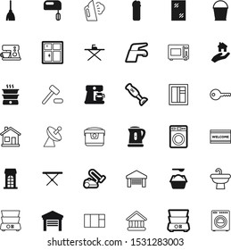 house vector icon set such as: vacuum, cooker, plumbing, item, satellite, authority, transportation, box, library, powder, pattern, metal, gavel, smoothing, doormat, wireless, broom, housekeeping