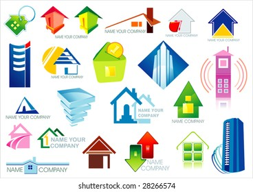 House vector Icons for Web. Construction or Real Estate concept. Abstract color element set of corporate templates. Just place your own brand name. Collection 2.