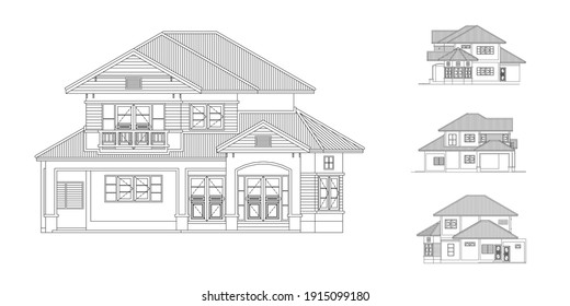 House  Vector illustration in black and white