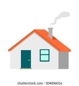 house vector illustration flat design cottage with red roof and smoke from chimney - Smoking House Designs