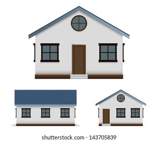House vector image set in three point of view, front, back, and side. using gradient meshes, transparencies, eps 10