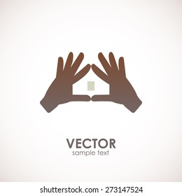 House vector logo created by hands