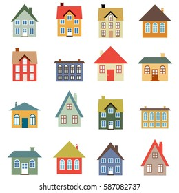 House vector set - simple home illustration collection.