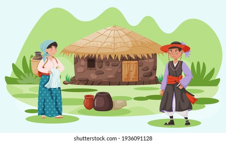 House in village with roof made of straws and walls made of clay. Villagers in traditional clothes
