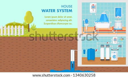 House Water System Vector Banner Text Stock Vector (Royalty Free