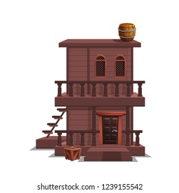 House for western town for game level and background isolated on white background. Building design - wild west. Vector illustration.