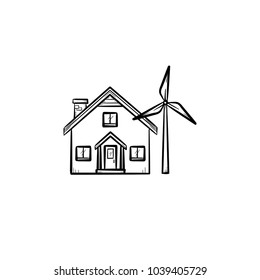 House with wind generator hand drawn doodle icon. Renewable energy concept. Building with wind turbine vector sketch illustration for print, web, mobile and infographics isolated on white background.