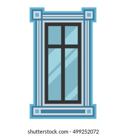 House window vector element isolated on white background