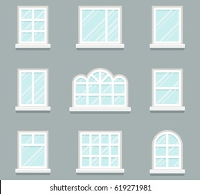 House windows building glass icons set flat template design vector illustration