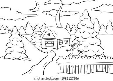 A house in the winter forest, fir trees and a snowman at the fence, coloring page
