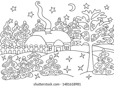 House in the winter snow spruce forest - coloring page for children and adults