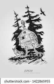 House of witch on the forest. House in a dark forest on chicken legs.