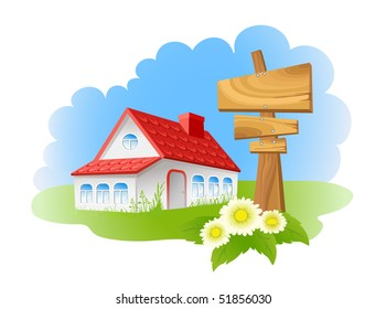 House and wooden sign