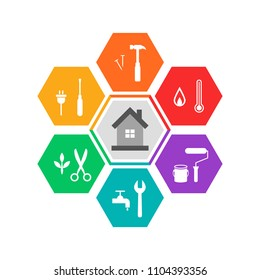 House and work tools concept in colorful flat design. Icons in hexagon shape.