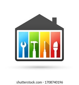 House and work tools concept. Vector illustration in flat design isolated on white background.