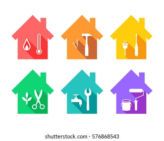 House with work tools as repair and maintenance concept. Working tool icons set in flat design.