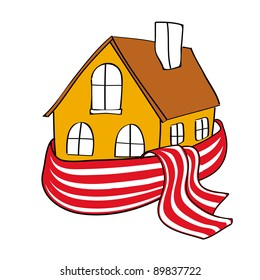 House wrapped in a striped scarf
