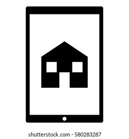 House_Home icon - Flat design, glyph style icon - Colored enclosed in a tablet