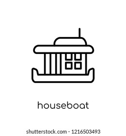 houseboat icon. Trendy modern flat linear vector houseboat icon on white background from thin line Transportation collection, outline vector illustration