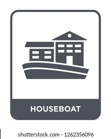 houseboat icon vector on white background, houseboat trendy filled icons from Transportation collection, houseboat simple element illustration