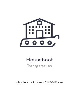 houseboat outline icon. isolated line vector illustration from transportation collection. editable thin stroke houseboat icon on white background