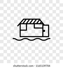Houseboat vector icon isolated on transparent background, Houseboat logo concept