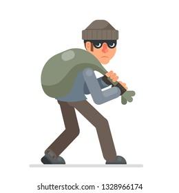 Housebreaker with bag of loot sneak away evil greedily  thief cartoon rogue bulgar character flat design isolated vector illustration