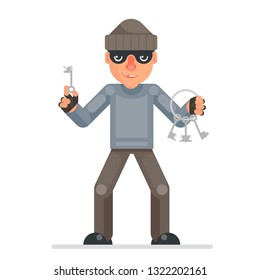 Housebreaker thieves keys picklock hand evil greedily thief cartoon rogue bulgar character design flat isolated vector illustration