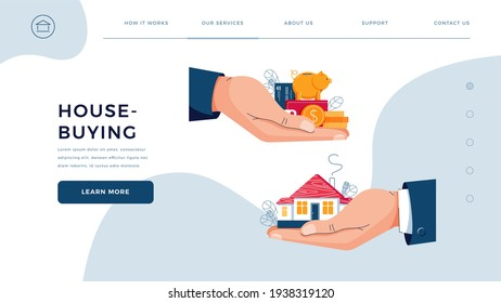 House-buying homepage template. Seller gives house to customer. Buyer brings money for home purchase dealing. Deal sale, mortgage, real estate vector illustration. Modern flat cartoon design