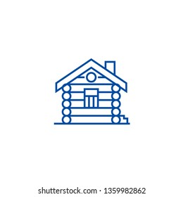 House,cabin,wood house line icon concept. House,cabin,wood house flat  vector symbol, sign, outline illustration.