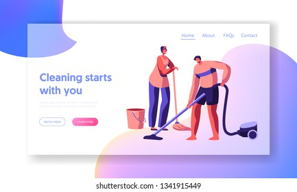 Housecleaning by Scrubwoman Landing Page. Character Domestic Housework Cleaning Floor. Housekeeping Time with Vacuum Cleaner, Broom and Bucket Website or Web Page. Flat Cartoon Vector Illustration