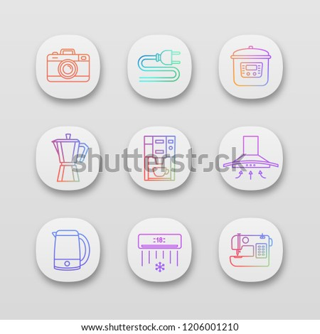household appliance app icons set  photo camera, wire plug, multi cooker,  coffee