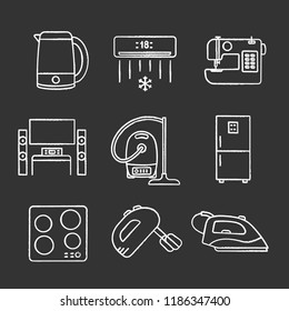Household appliance chalk icons set. Electric kettle, air conditioner, sewing machine, home theater, vacuum cleaner, fridge, cooktop, mixer, steam iron. Isolated vector chalkboard illustrations