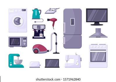 Household appliance color flat vector illustrations set. Home electric devices, kitchenware. Stove, tv, microwave oven. Domestic equipment. House electronics isolated cartoon icons on white background