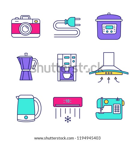 Household Appliance Color Icons Set Photo Stock Vector (Royalty Free on wiring up 220 welder plug, remote live well plug, wiring 3 wire electric plug, a wire 3-way electrical plug,