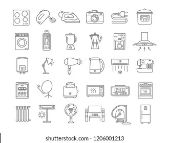 Household appliance linear icons set. Home and kitchen electronics. Domestic technology. Fridge, vacuum cleaner, mixer, dishwasher, oven, stove. Isolated vector outline illustrations. Editable stroke
