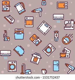 Household appliance linear icons set. Home and kitchen electronic devices outline illustrations pack. Dishwasher, vacuum cleaner, oven. Domestic technology, equipment isolated symbols