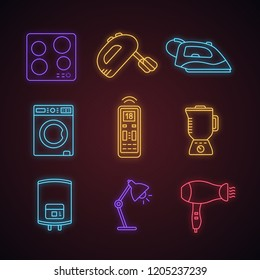 Household appliance neon light icons set. Cooktop, mixer, steam iron, washing machine, remote control, blender, water heater, lamp, hair dryer. Glowing vector isolated illustrations