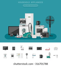 Household appliances banner with vector flat icons microwave, coffee machine, washing machine, etc.