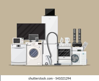Household Appliances and Electronic Devices on brown background. vector illustration in flat style.