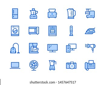 Household Appliances, Electronics Store Line Icon. Vector Illustration Flat style. Included Icons as Microwave Oven Stove, Iron, Vacuum Cleaner, Washer, Computer. Editable Stroke